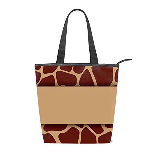 (Women Canvas Shoulder Bag, Giraffe Print Pattern Bag Casual Handbag Shopping Bag Travel Beach Tote Bag for Women Ladies Girls)