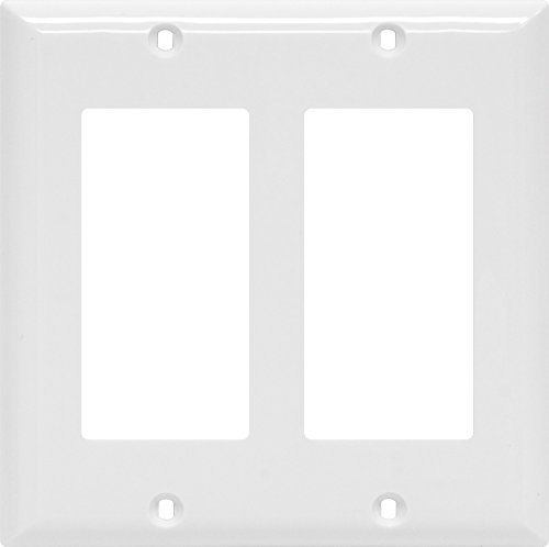 Power Gear Double Rocker Switch Wallplate, White, Unbreakable Nylon, Screws Included, UL Listed, (Ge White Switch)