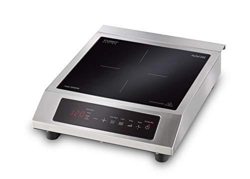 CASO ProChef 3500 - Placa de inducción portátil (3500 W, 60 – 240 °C, modo de mantenimiento en caliente, temporizador de 24 horas, ollas hasta 26 cm, acero inoxidable)
