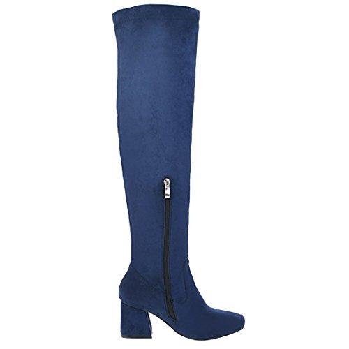 Damen Stretch Overknee Stiefel mit 7cm Absatz Blockabsatz High Heels Winter Stiefel Aiyoumei olrKnUd