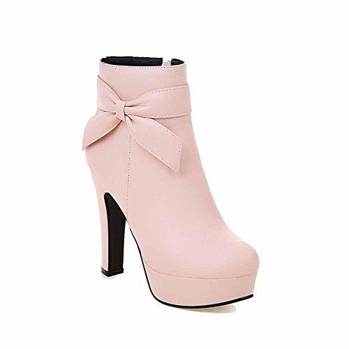 Allhqfashion Mujeres Soft Material Round Cerrado Dedo Del Pie Sólido Low-top High Heels Botas Pink