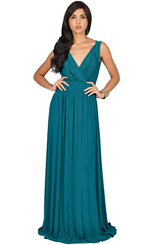KOH KOH Womens Long Sleeveless Flowy Bridesmaids Cocktail Party Evening Formal Sexy Summer Wedding Guest Ball Prom Gown Gowns Maxi Dress Dresses, Blue/Green Jade M 8-10