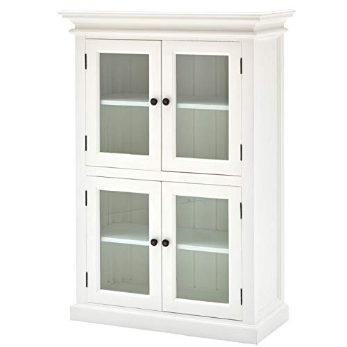 NovaSolo Halifax Pure White Mahogany Wood Storage Kitchen Pantry Unit With Glass Doors And 4 Shelves by NovaSolo