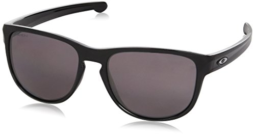 Oakley Men's Sliver R Polarized Iridium Rectangular Sunglasses, Polished Black w/Prizm Daily Polarized, 57 - Oakley Silver