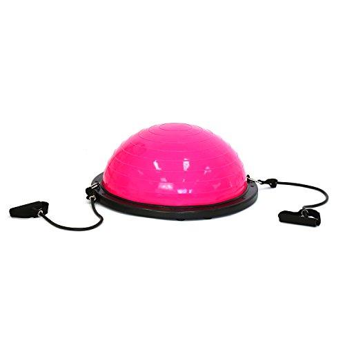 Peach Tree Yoga Balance Ball w/ 2 Elastic Strings Fitness Strength Exercise Ball Balance Trainer (Pink)