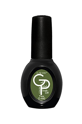 Army Green Opaque Gel Nail Polish, Tess, Professional Color Lacquer by Cacee 445 0.5oz