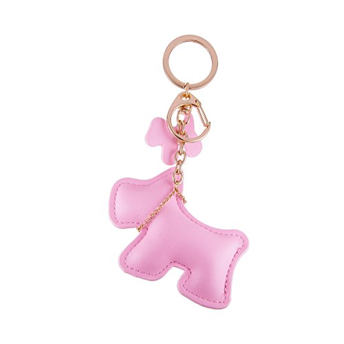 Cute Dog Puppy Leather Tassel Keychain Gold Tone Key Ring Charm Handbag Accessories for Women and Girls (Pink Style A) - Puppy Dog Handbag Purse Accessory
