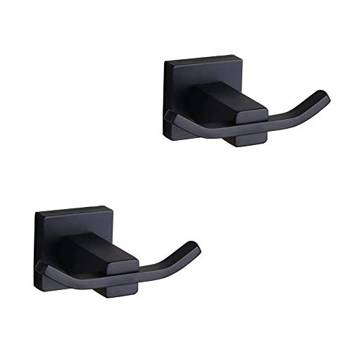 Bathroom Matte Black Coat Hook SUS 304 Stainless Steel Double Towel/Robe Clothes Hook for Bath Kitchen Contemporary Hotel Style Wall Mounted 2 Pack