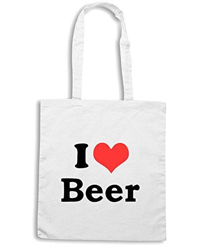 T-Shirtshock - Bolsa para la compra TR0062 I Love Beer 25mm 1 Pin Badge Button Hen Night Stag Do Party Fun Novelty Blanco