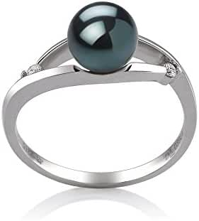 Black 6-7mm AA Quality Japanese Akoya 14K White Gold Cultured Pearl Ring