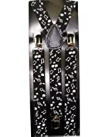 Outer Rebel Fashion Suspenders- Black with White Musical Notes