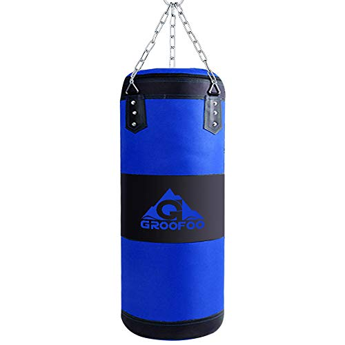 GROOFOO Kids Boxing Bag, Heavy Duty Oxford Punching Bag for Kids Boxing Training, 2FT UNFILLED Bag with Mount Chain, Blue