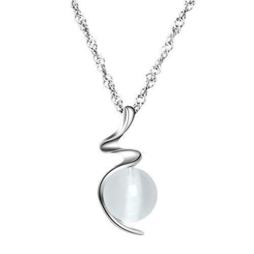 Romance-and-Beauty Silver Necklace Platinum-plated Cat's Eye Wavy Necklace Pendant Women's Accessories