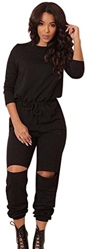 Aro Lora Women's One-shoulder Casual Wear Ripped Sport Jumpsuits Rompers X-Large Black