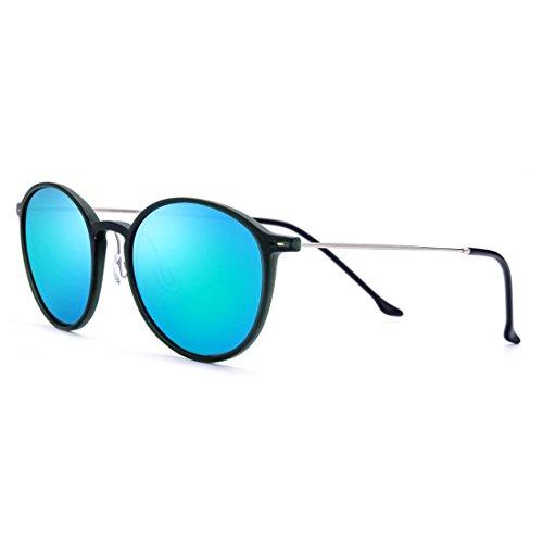 Polarizadas Lens Blue para De Sol Blue Gold Hombre Redondas Lens De Gold Gafas Sol de Frame Gafas Gafas TLMY Mujer Retro Color Y Ultraligeras Sol Frame wtvA4q