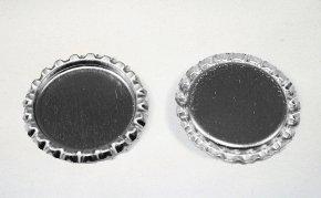 100 Flattened Chrome Bottle Caps Silver Bottlecaps Flat (Flattened Bottle)
