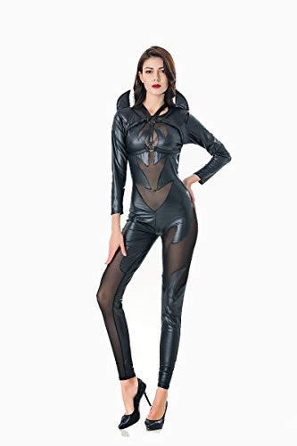 XSQR Faux Leather Catsuit Black Evil Costume Women Gothic Vampire Devil Angel Costume for Halloween Party Fancy Dress -