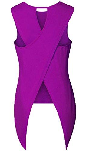 JOKHOO Women Sleeveless Back Cross Slit Tank Top T-Shirt (Purple, S)