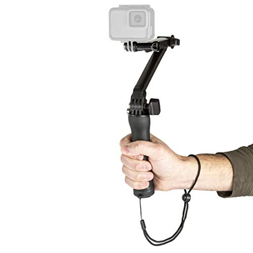 Multi-Point Adjustable Folding Multi-Function Camera Grip/Stabilizer/Selfie Stick/Tripod for GoPro Hero 8/7/6/5/4/3+/3/MAX 360, DJI OSMO Action, Ricoh Theta S/V, Compact Cameras and Cell Phones