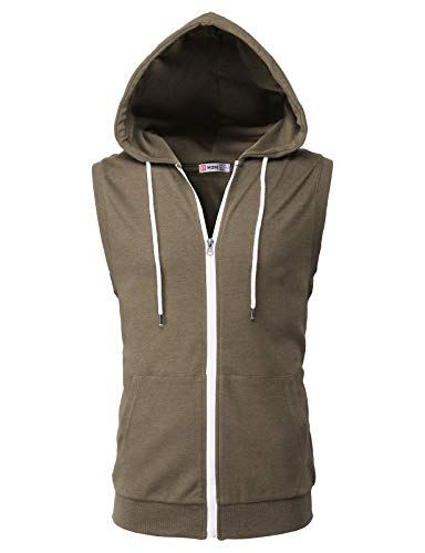 Cotton Zip Vest - H2H Men's Hooded Full-Zip Hoodie Vest HEATHERBROWN US S/Asia M (CMOHOSL08)