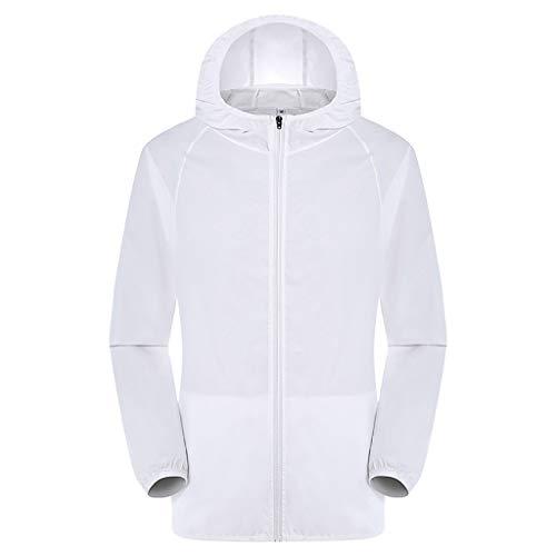 Serzul Unisex Breathable Waterproof Trench Coats,Women Men Summer Cooling Jacket Active Outdoor Hooded Rain Coat S-5XL White