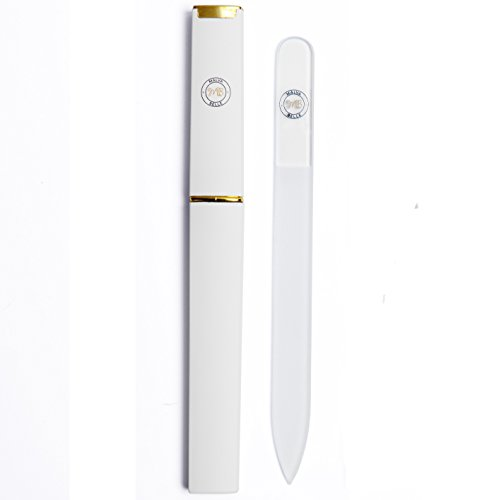 Best Crystal Glass Nail File for Women, Protective Travel Case, Professional Salon Fingernail Files Supplies, for Pretty Manicure, Great for Natural, Gel, Acrylic Fake Nails - Clear