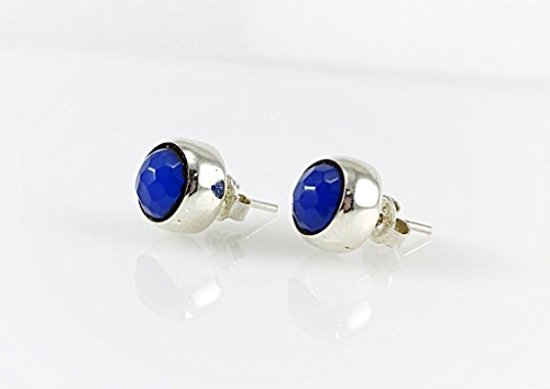 Women's Sterling Silver Natural Faceted Blue Agate Handmade Round Stud - Blue Agate Earrings Agate