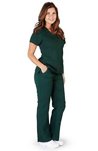 Ultra Soft Brand Scrubs - Premium Womens Junior Fit 3 Pocket Mock Wrap Scrub Set, Hunter 39115-Large