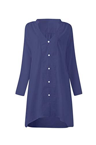 Cou Les Et V Coton Le Et yulinge Femmes Blue Lin Maxi Taille Chemise 6adqn8w
