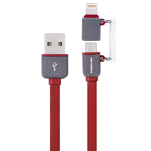 (POWERADD MFi Certified iPhone Charger, 3.3ft 2 in 1 iPhone Micro USB Cable 8 Pin Apple USB Charging Cord for iPhone iPad, Samsung Galaxy, Huawei and Other Android Phones Tablets-red)