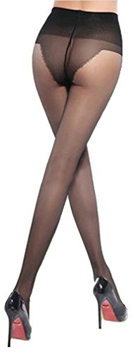 BONAS Women's 15 Denier Ultra Sheer Control Top Sheer Toe Bikini Crotch Pantyhose Grey