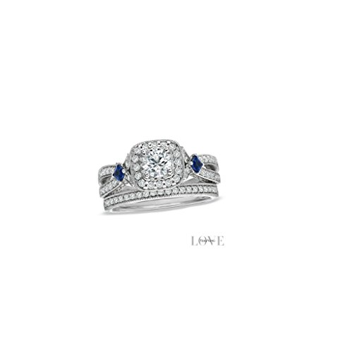 Vera Wang LOVE Collection 1.20 CT. T.W. Diamond and Sapphire Frame Bridal Set in 14K White Gold Engagement ring Set In all sizes - 0.45 Ct Tw Round Diamonds