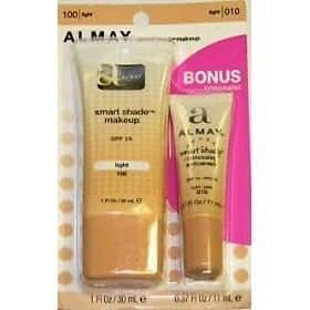 Almay Smart Shade Makeup, Light 100, 1 Oz. PLUS BONUS Smart Shade Concealer, Light 010, .37 Oz.