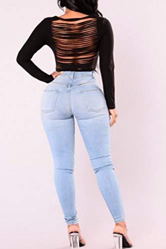 Pantaloni Denim Yulinge In Le Blu Con Lunghi Tasca Jeans Donne Magre Alto qxZ0B