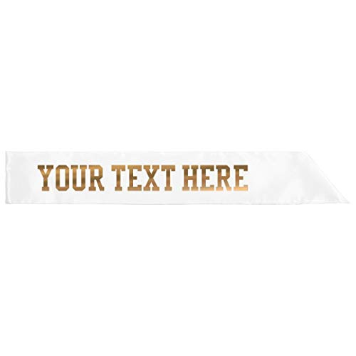 Customize A Metallic Text Sash: Adult Satin Party Sash -