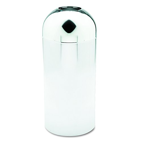 (Safco Products 9875 Reflections By Safco Open Top Dome Trash Can, 15-Gallon, Chrome)