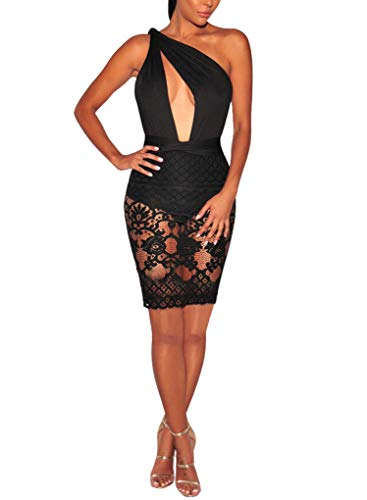 Sexycherry Women Boho Bodycon Sexy Lace Floral Halter Strap Deep V Neck Evening Club Mini Dress,Black,Small