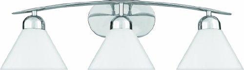 Quoizel Glass Bathroom Sconce (Quoizel DI8503CO Demitri 3-Light Wall Bath Fixture, Polished Chrome)