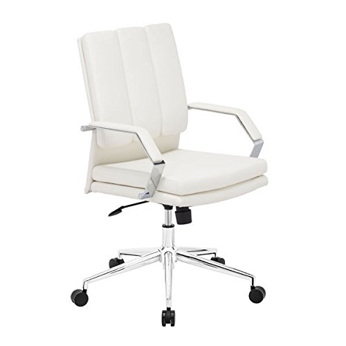 Zuo Director Pro Office Chair, White Director Leatherette Office Chair