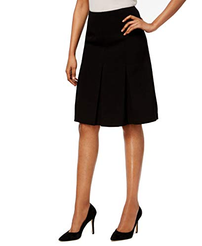 Kasper Deep Women's Pleated Crepe Solid A-Line Skirt Blacks