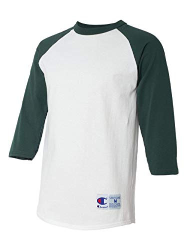 Champion Men's Raglan Baseball T-Shirt, White/Dark Green, ()