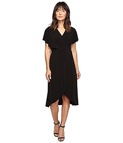 Ivanka Trump Women's Matte Jersey Faux Wrap Dress with Ruffle Sleeves Black Dress - Matte Jersey Surplice