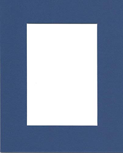 Pack of (5) 11x14 Acid Free White Core Picture Mats Cut for 8x10 Pictures in Royal Blue