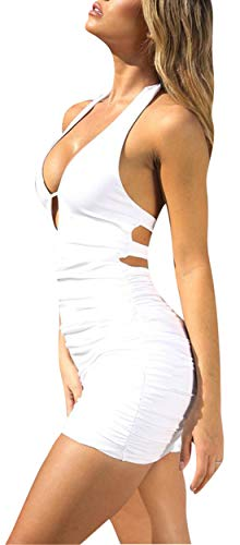 Backless Sling - Rozegaga Women Sexy V Neck Keyhole Cutout Backless Slim Sling Mini Bodycon Dresses Large White