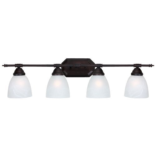 Y Decor L324ORW Modern, Transitional, Traditional 4 Light Bathroom Vanity Fixture Oil Rubbed Bronze with White Glass By , Oil Rubbed Bronze, Brown, White ()