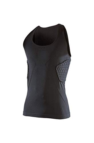 McDavid Men's Elite Padded Compression Tank Shirt. 3 HEX Pads to Protect Ribs and Spine. Basketball, Football and More. Black (Compression Shorts Padded Mcdavid)