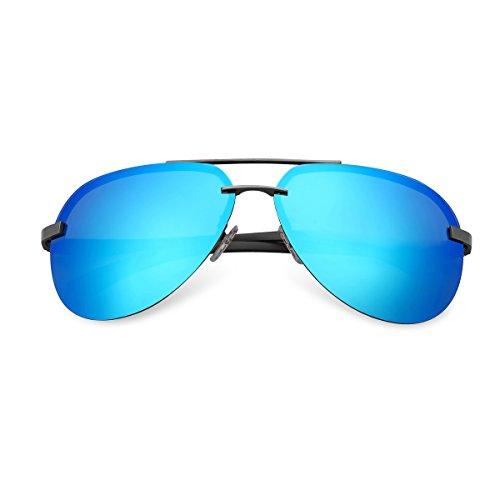 Protección Sol aviador Aviador Gafas gafas polarizado Polarizadas 400 Hombre Plata Azul y MPTECK UV con A143 sol caso estuche de clásico de Gunmetal Plata el pañuelo EwOAHxxq