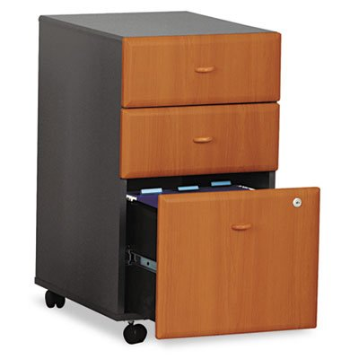 ~:~ BUSH INDUSTRIES ~:~ Mobile 2 Box/1 File Drwr Vertical File, 28-1/2'' High, Natural CY/Slate GY