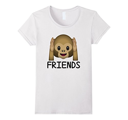 Forever See Hear No Evil Monkey Emoji T-shirt Medium White (Monkey See No Evil Hear No Evil)