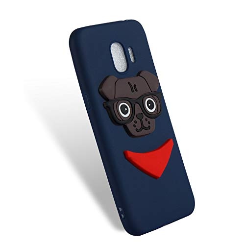 Samsung Galaxy J2 Pro (2018) Case 3D Painted Pattern Silicone Patch Animal Cartoon Soft Shell,Dog Navy
